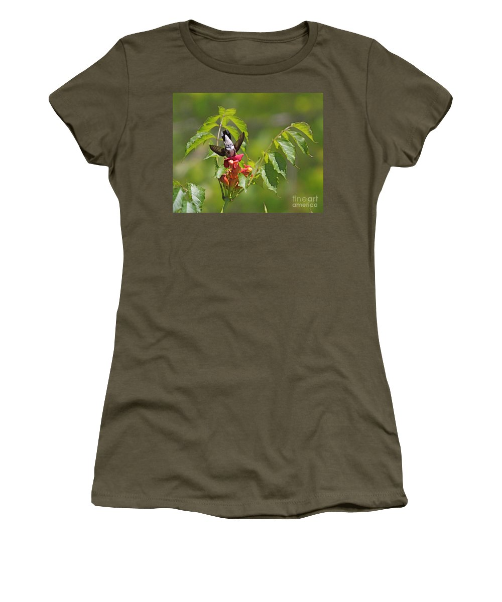 Related Tags: Humming Bird Artwork Women's T-Shirt (Athletic Fit) featuring the photograph Bottoms Up by Robert Pearson