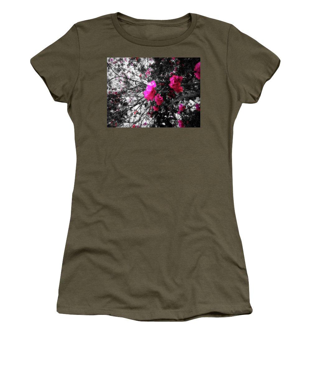 Bougainvillea Women's T-Shirt featuring the photograph Bougainvillea Invasion by Douglas Barnard