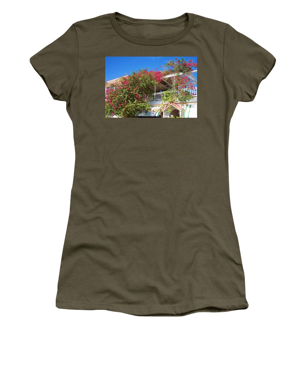 Flowers Women's T-Shirt (Athletic Fit) featuring the photograph Bougainvillea Villa by Debbi Granruth