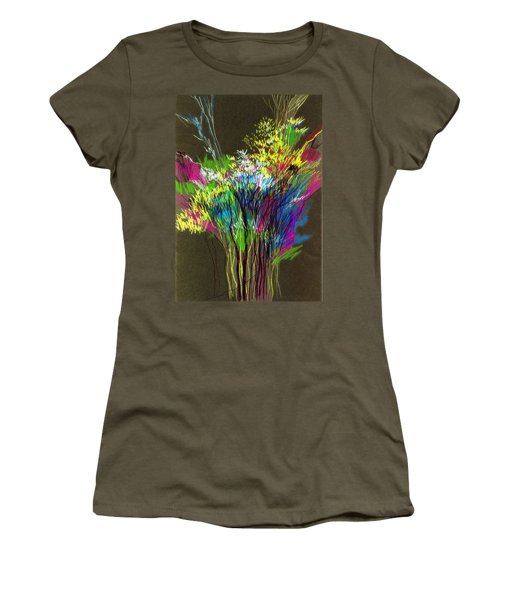 Flowers Women's T-Shirt (Athletic Fit) featuring the painting Bouquet by Anil Nene