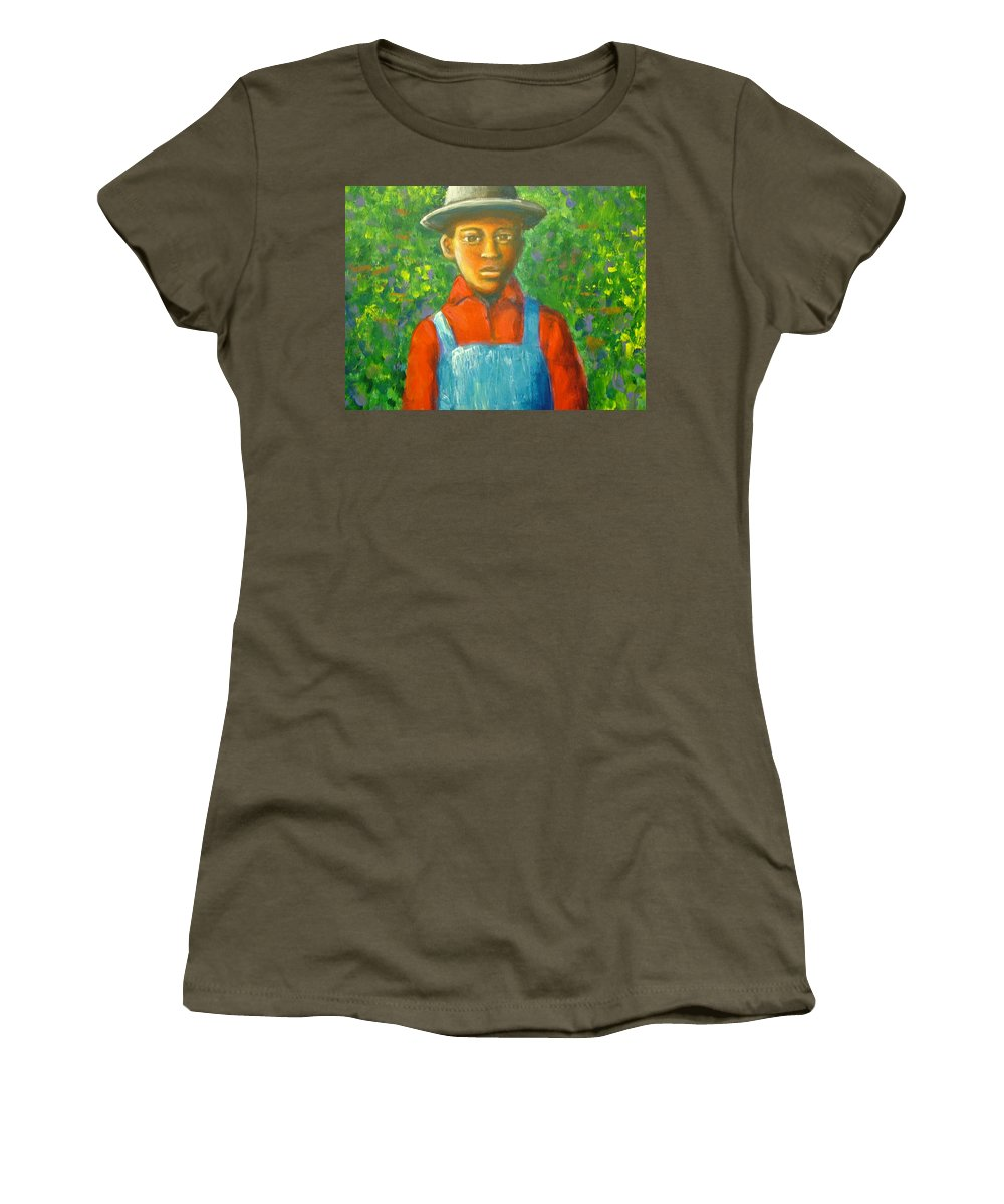 Painting Women's T-Shirt (Athletic Fit) featuring the painting 'boy In The Woods' by Jan Gilmore