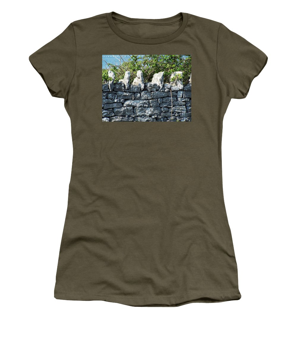 Irish Women's T-Shirt (Athletic Fit) featuring the photograph Briars And Stones New Quay Ireland County Clare by Teresa Mucha