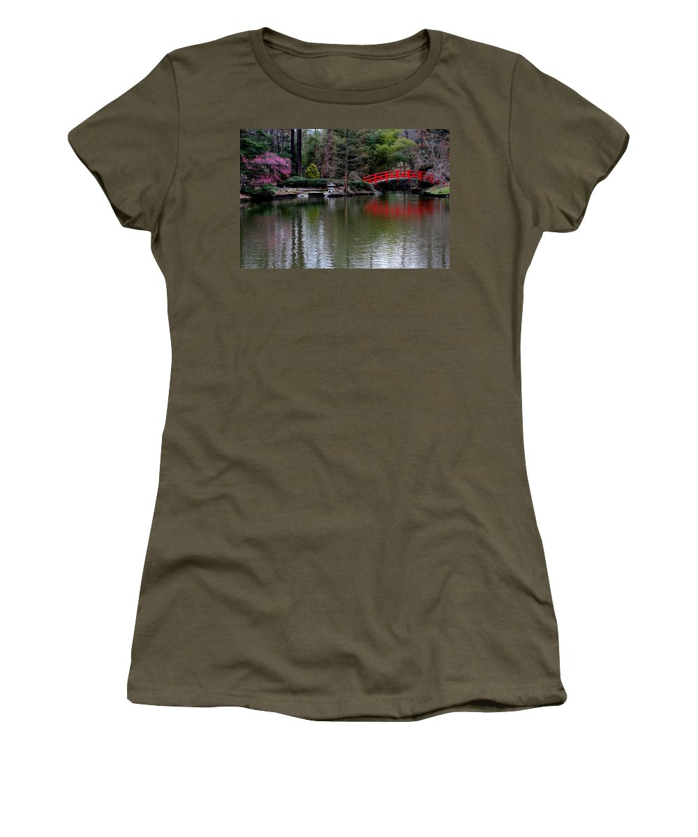 Sarah Duke Women's T-Shirt (Athletic Fit) featuring the photograph Bridge In Bamboo Garden by Rand Wall