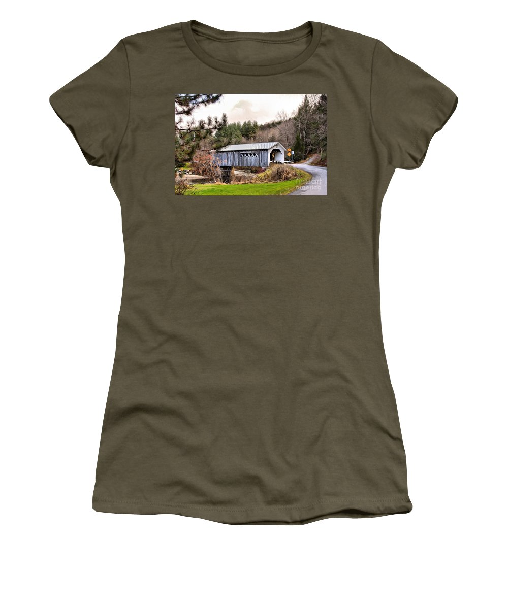 Covered Women's T-Shirt featuring the mixed media Bridge In Montgomery by Deborah Benoit