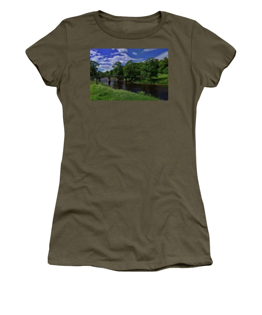 Bridge Women's T-Shirt featuring the photograph Bridge Over The River Wharf by Mark Hunter