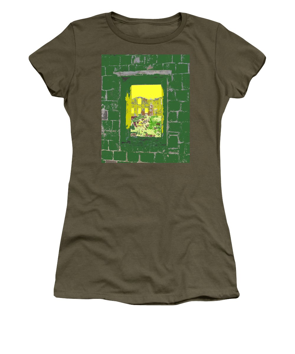 Brimstone Women's T-Shirt (Athletic Fit) featuring the photograph Brimstone Window by Ian MacDonald
