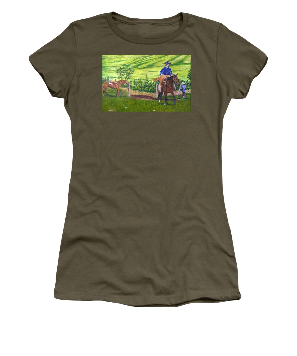 Cowboy Women's T-Shirt (Athletic Fit) featuring the painting Bringin by Mendy Pedersen