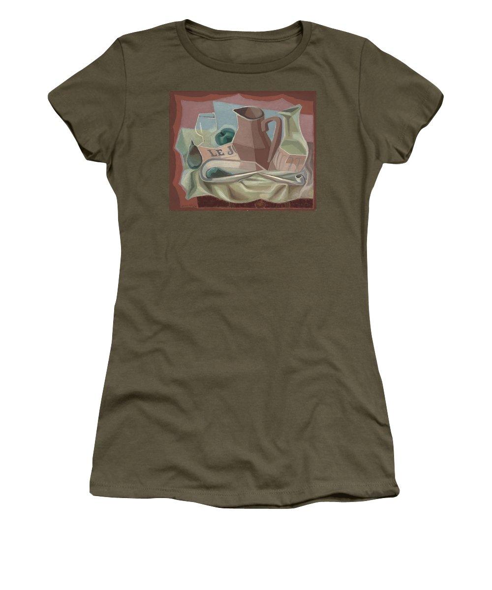 Juan Gris (1887-1927) Broc Et Carafe Women's T-Shirt (Athletic Fit) featuring the painting Broc Et Carafe by Juan Gris