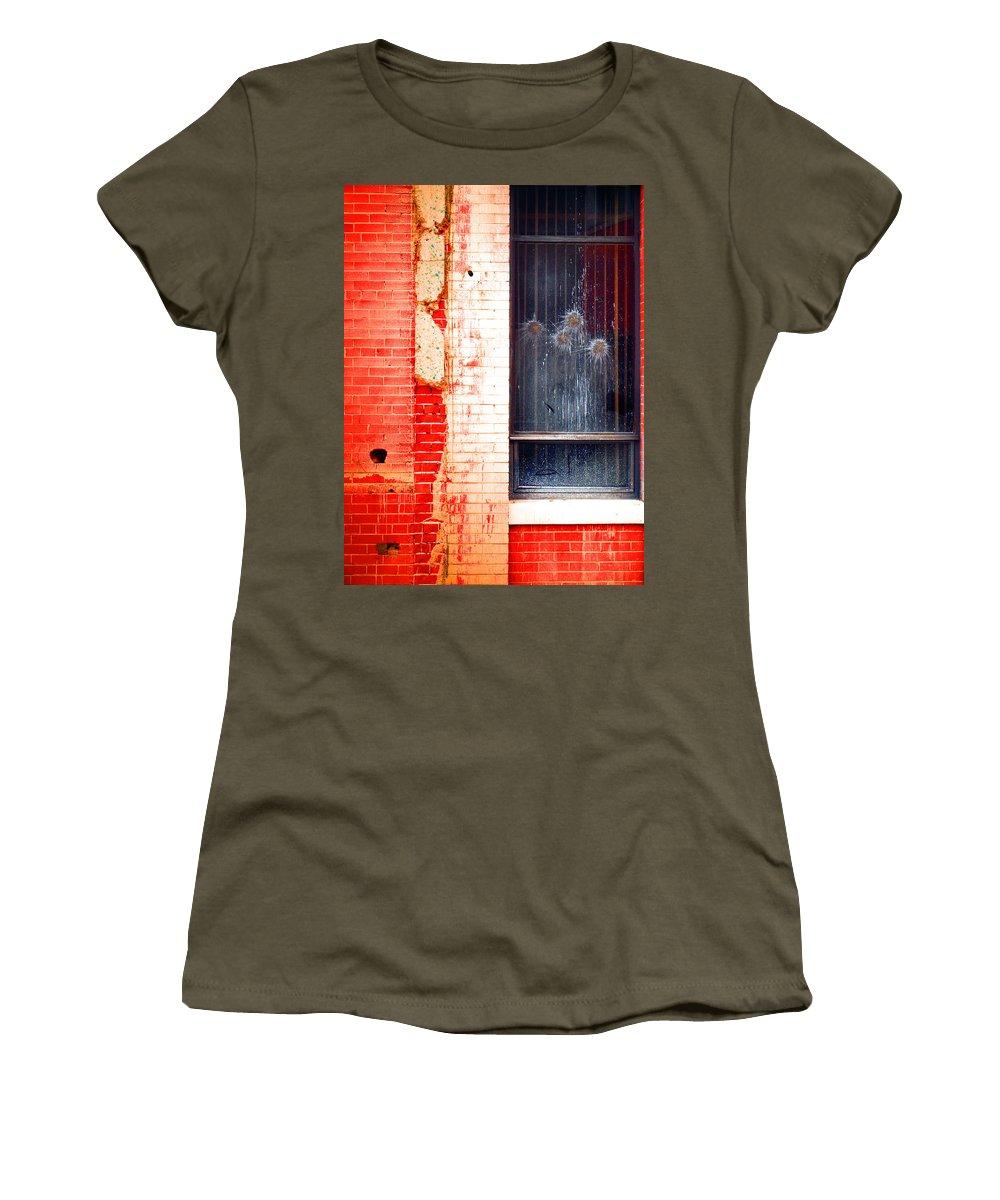 Glass Women's T-Shirt featuring the photograph Broken Glass Like Flowers by Tara Turner