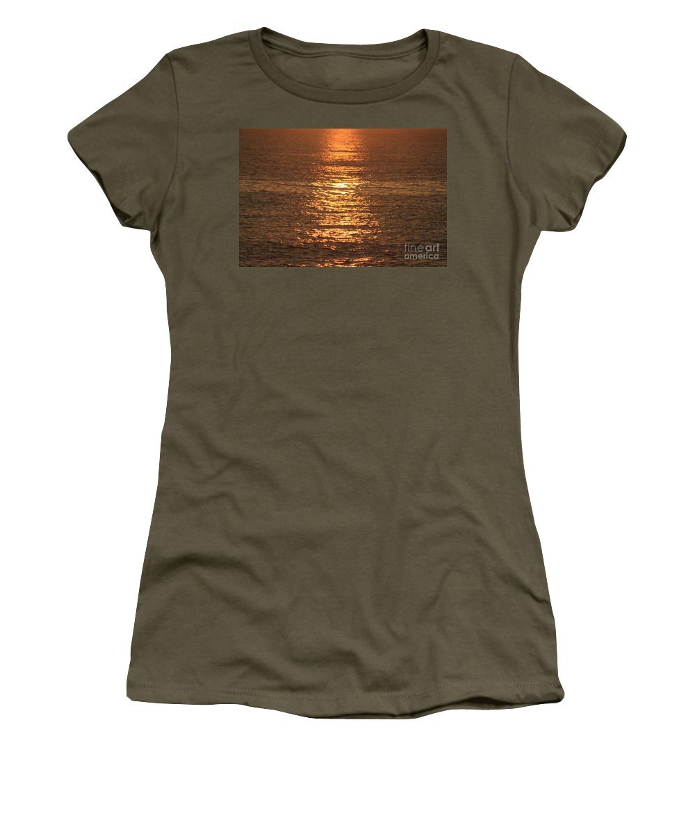 Ocean Women's T-Shirt (Athletic Fit) featuring the photograph Bronze Reflections by Nadine Rippelmeyer