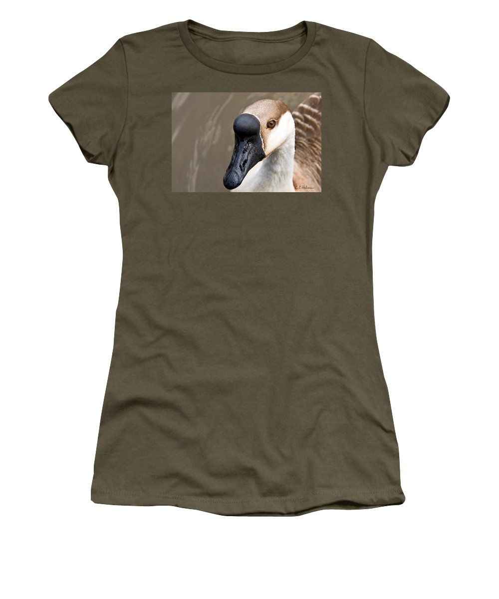 Chinese Brown Goose Women's T-Shirt (Athletic Fit) featuring the photograph Brown Eye by Christopher Holmes