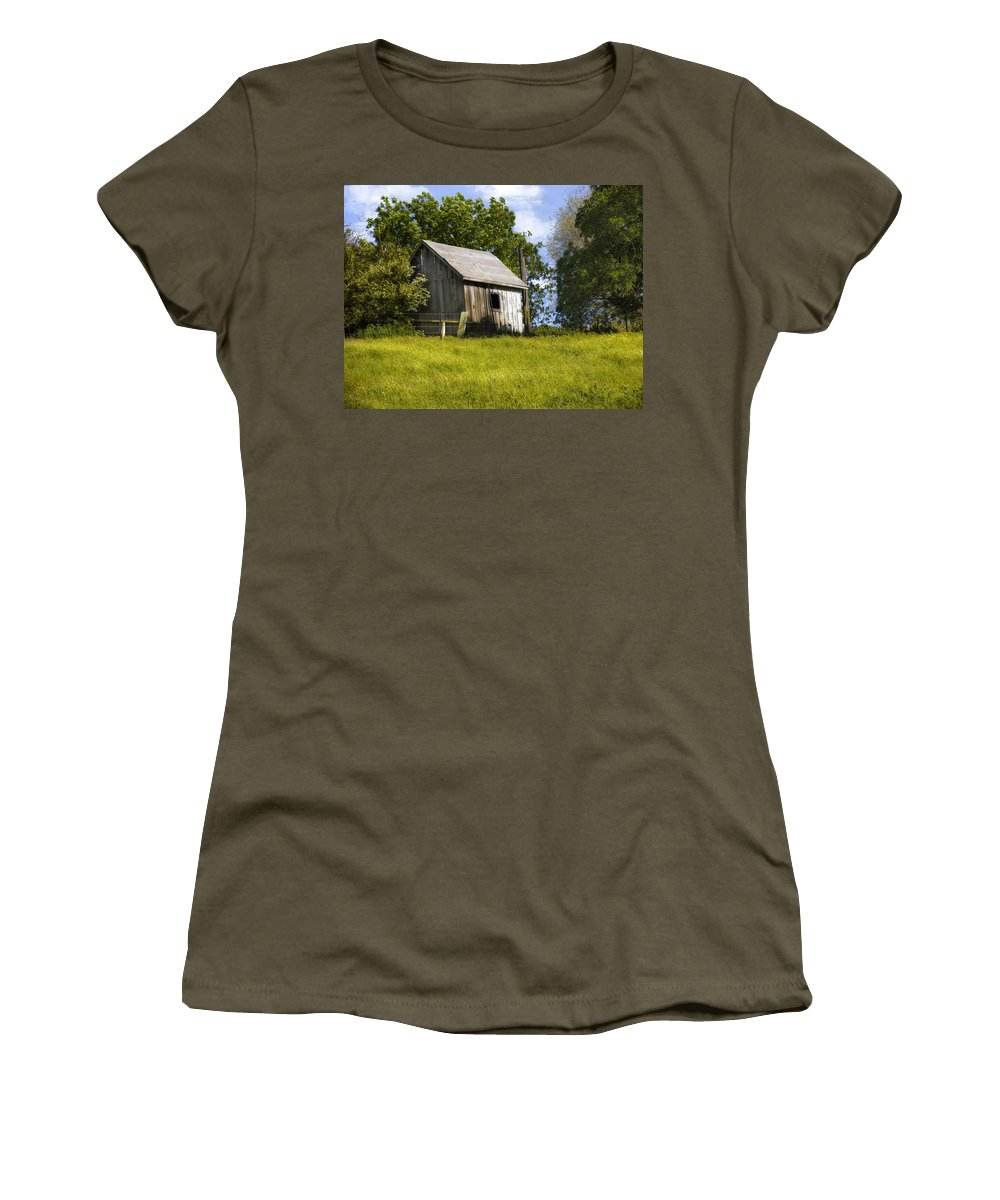 Landscape Women's T-Shirt featuring the photograph Brushy Peak Cabin by Karen W Meyer