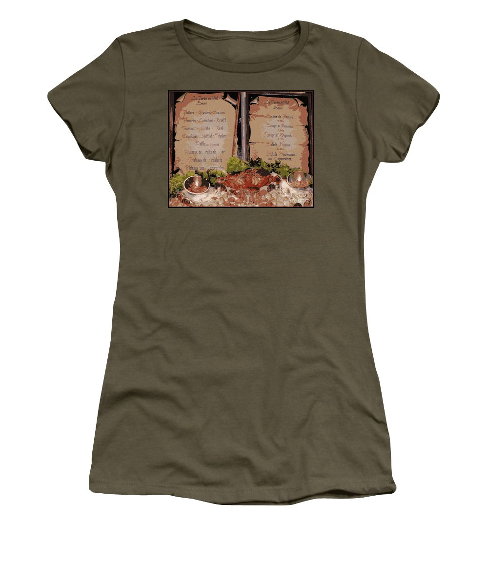 Brussels Women's T-Shirt (Athletic Fit) featuring the photograph Brussels Menu - Digital by Carol Groenen