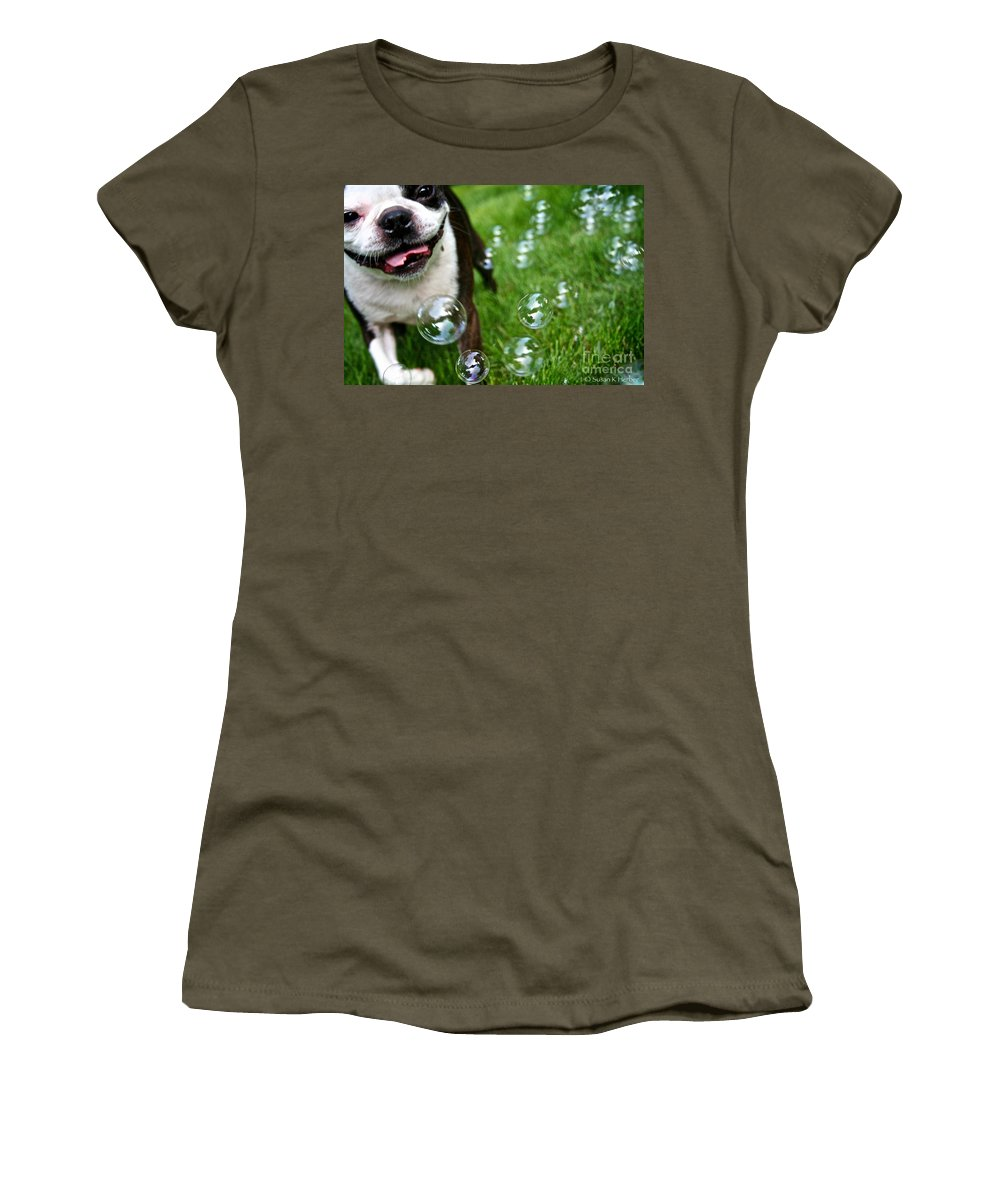 Animal Women's T-Shirt featuring the photograph Bubble Busting by Susan Herber