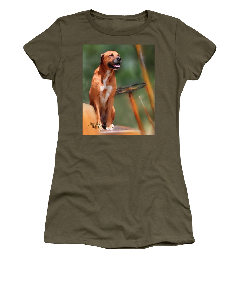 Dog Women's T-Shirt featuring the painting Buck by Colleen Taylor