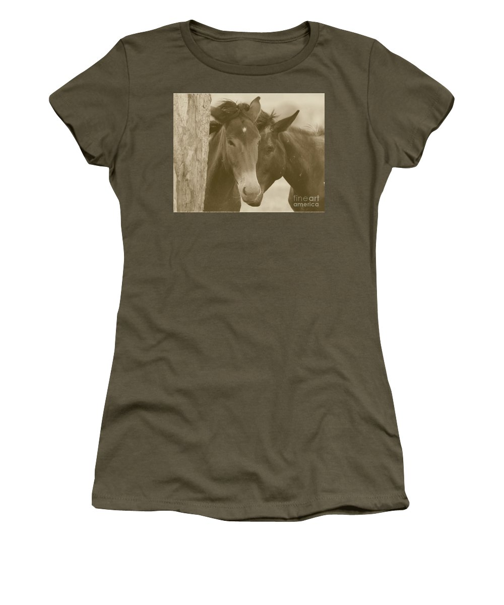 Sepia Women's T-Shirt (Athletic Fit) featuring the photograph Buddies by Brandi Maher