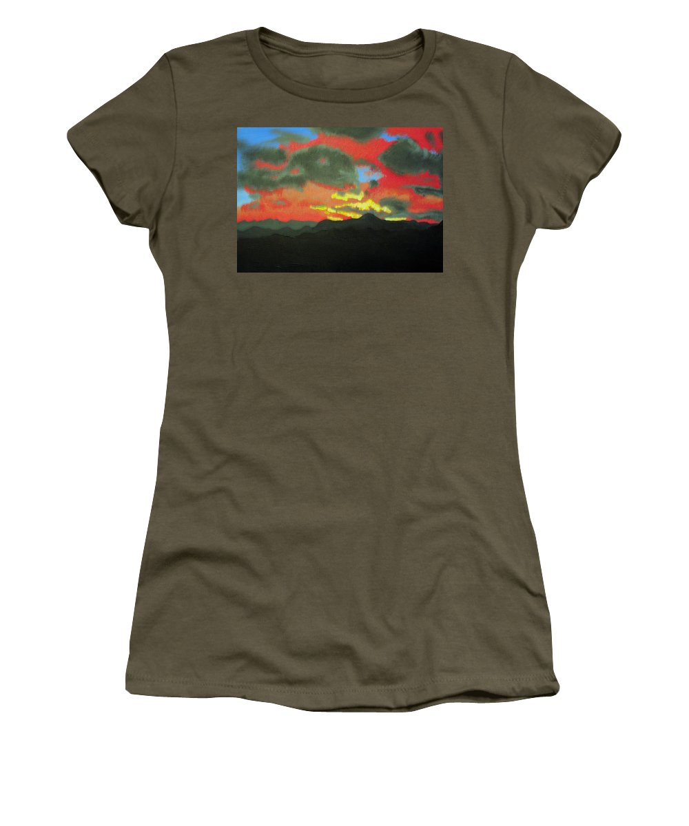 Sunset Women's T-Shirt featuring the painting Buenas Noches by Marco Morales