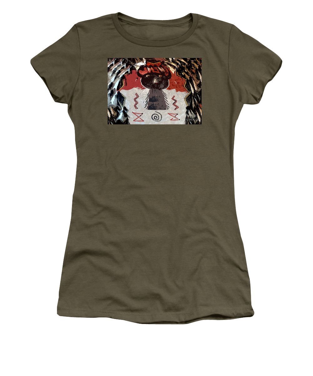 Buffalo Women's T-Shirt (Athletic Fit) featuring the painting Buffalo Man by David Lee Thompson