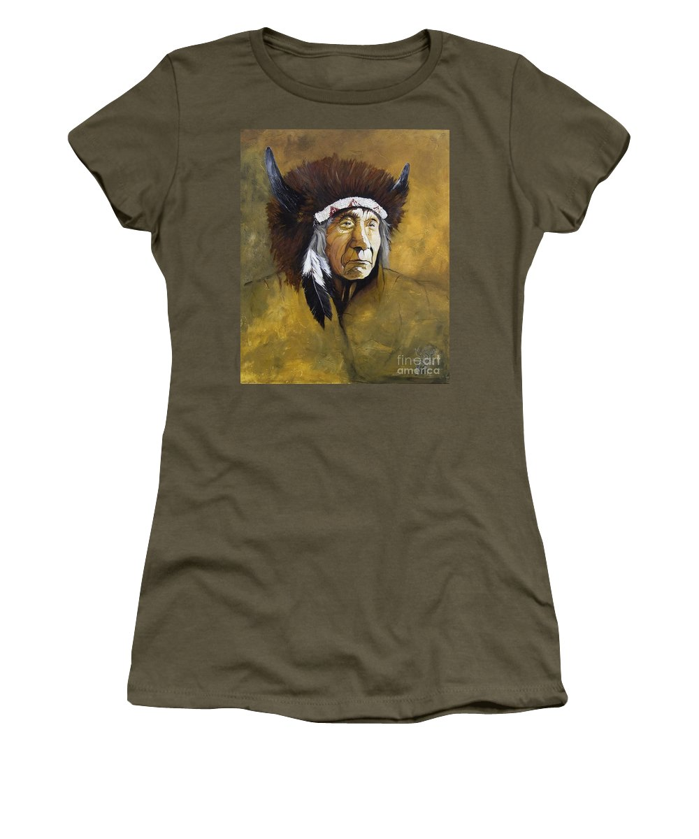 Shaman Women's T-Shirt (Athletic Fit) featuring the painting Buffalo Shaman by J W Baker