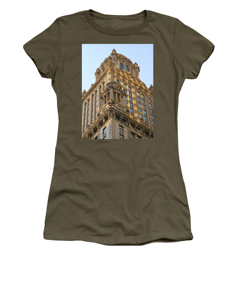 Building Women's T-Shirt (Athletic Fit) featuring the photograph Building Chicago by Diane Greco-Lesser