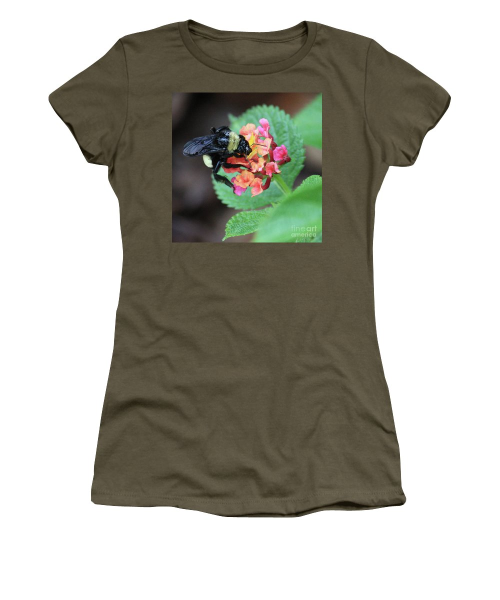 Bee Women's T-Shirt featuring the photograph Bumble Bee Square by Carol Groenen