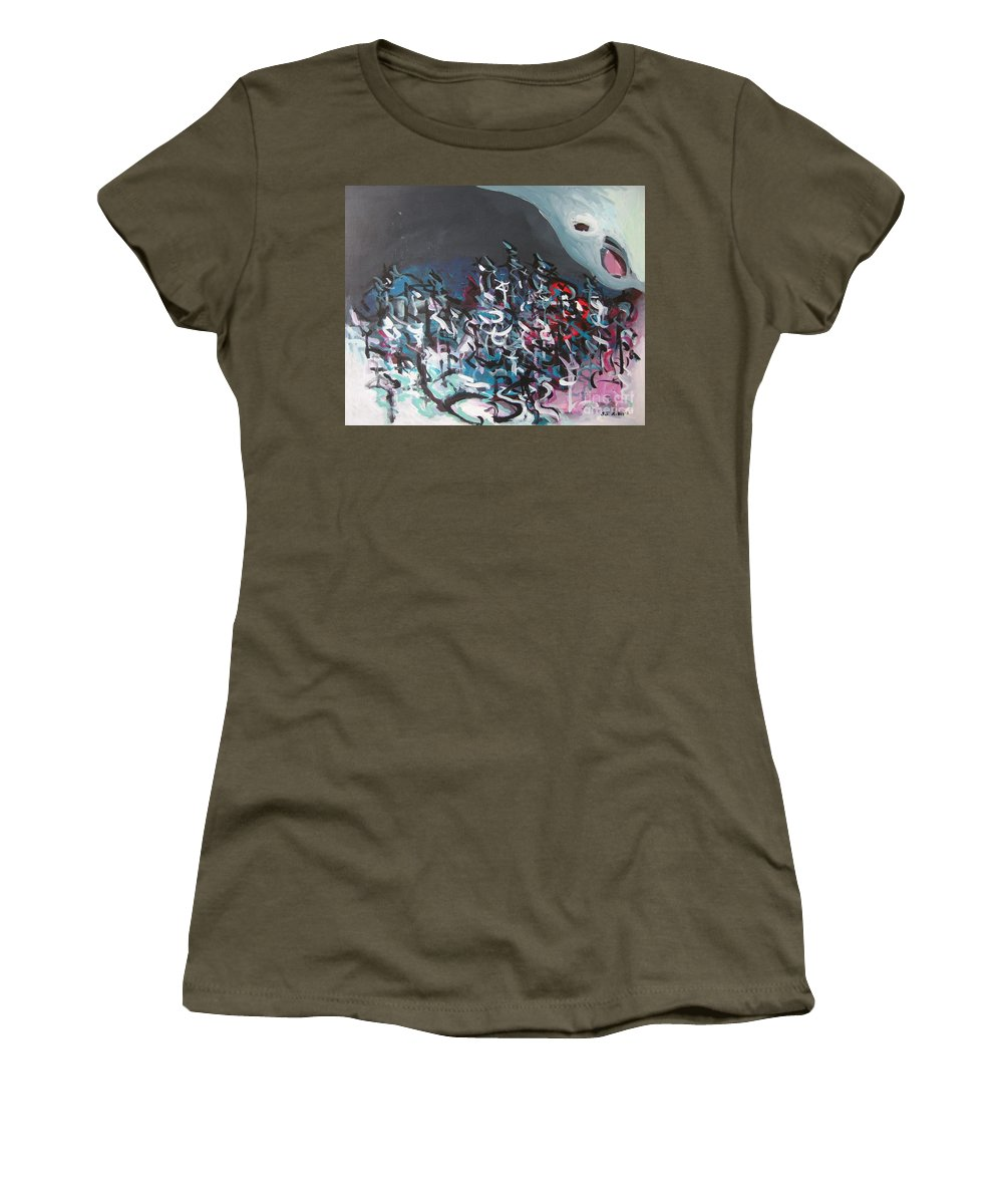 Abstract Paintings Women's T-Shirt (Athletic Fit) featuring the painting Bummer Flat7 by Seon-Jeong Kim