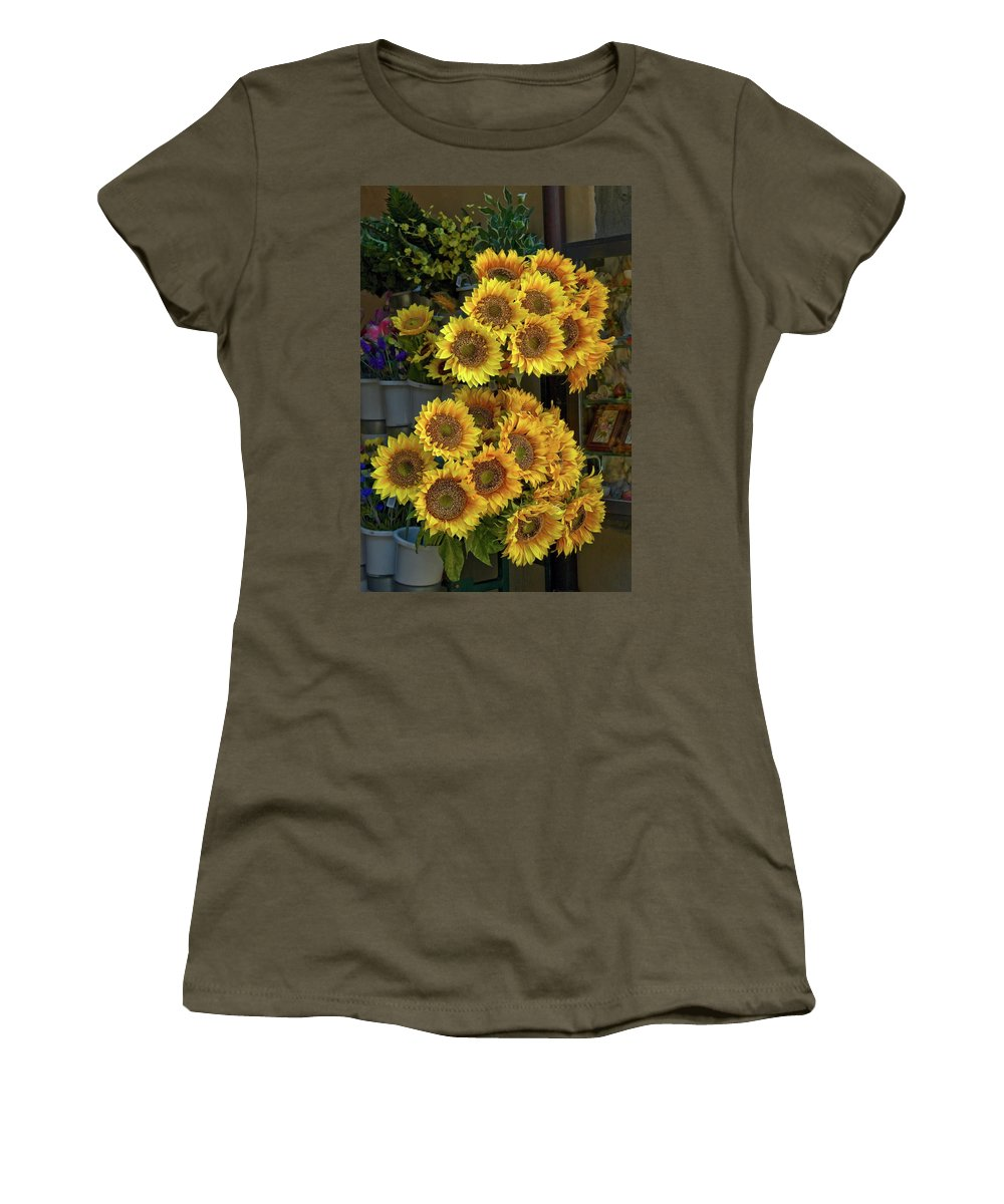 Sunflowers Women's T-Shirt featuring the photograph Bunches Of Sunflowers by Sally Weigand