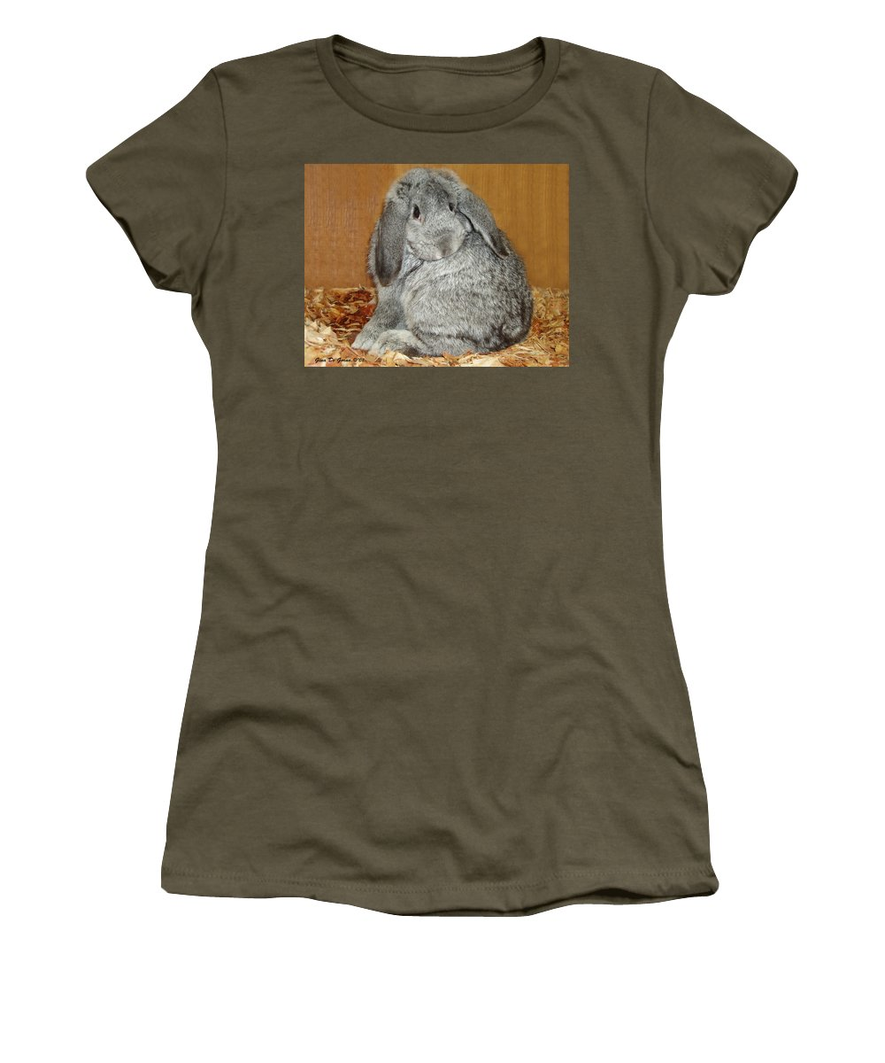 Bunny Women's T-Shirt (Athletic Fit) featuring the photograph Bunny by Gina De Gorna