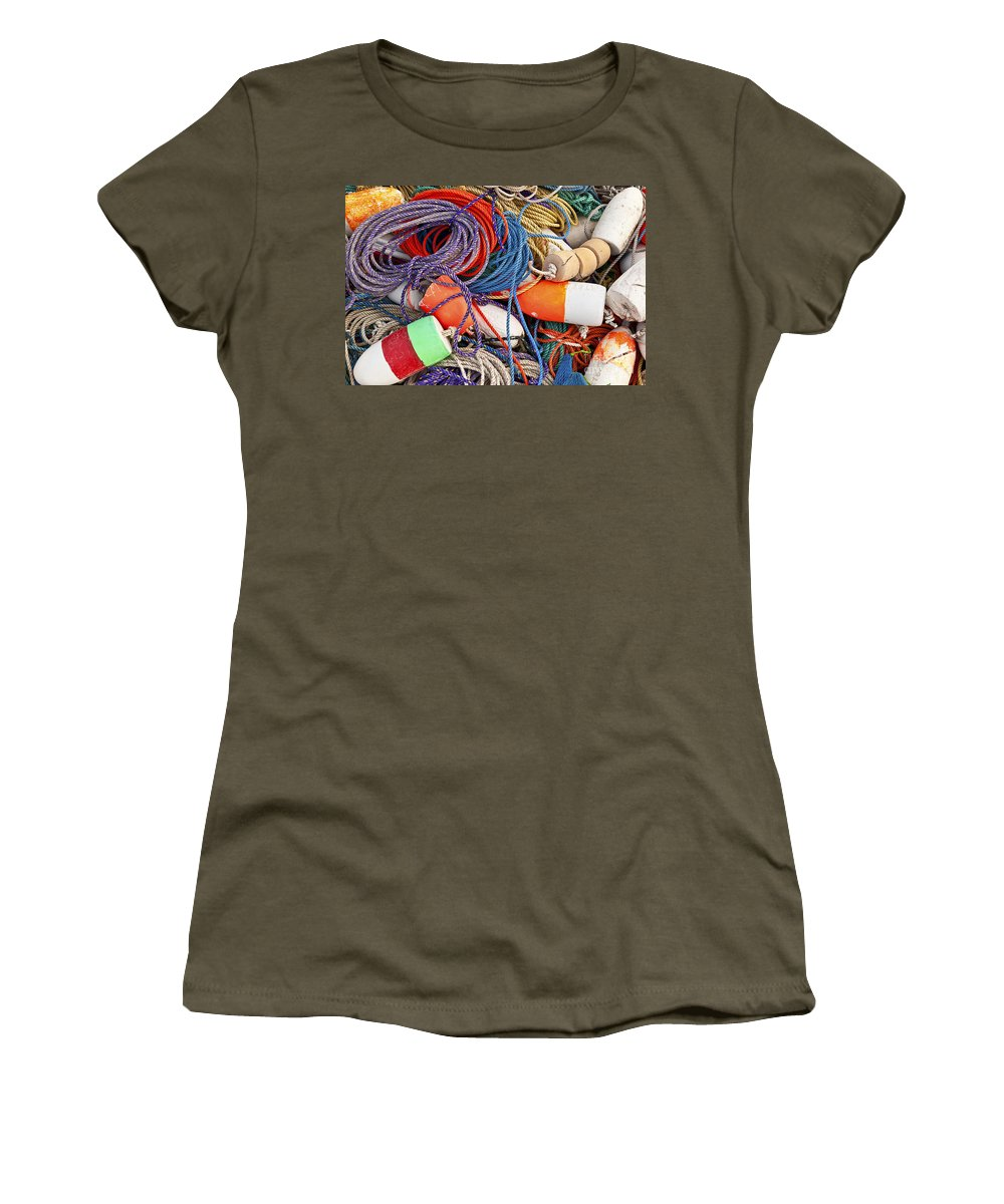 Maine Women's T-Shirt featuring the photograph Buoys And Rope by John Greim