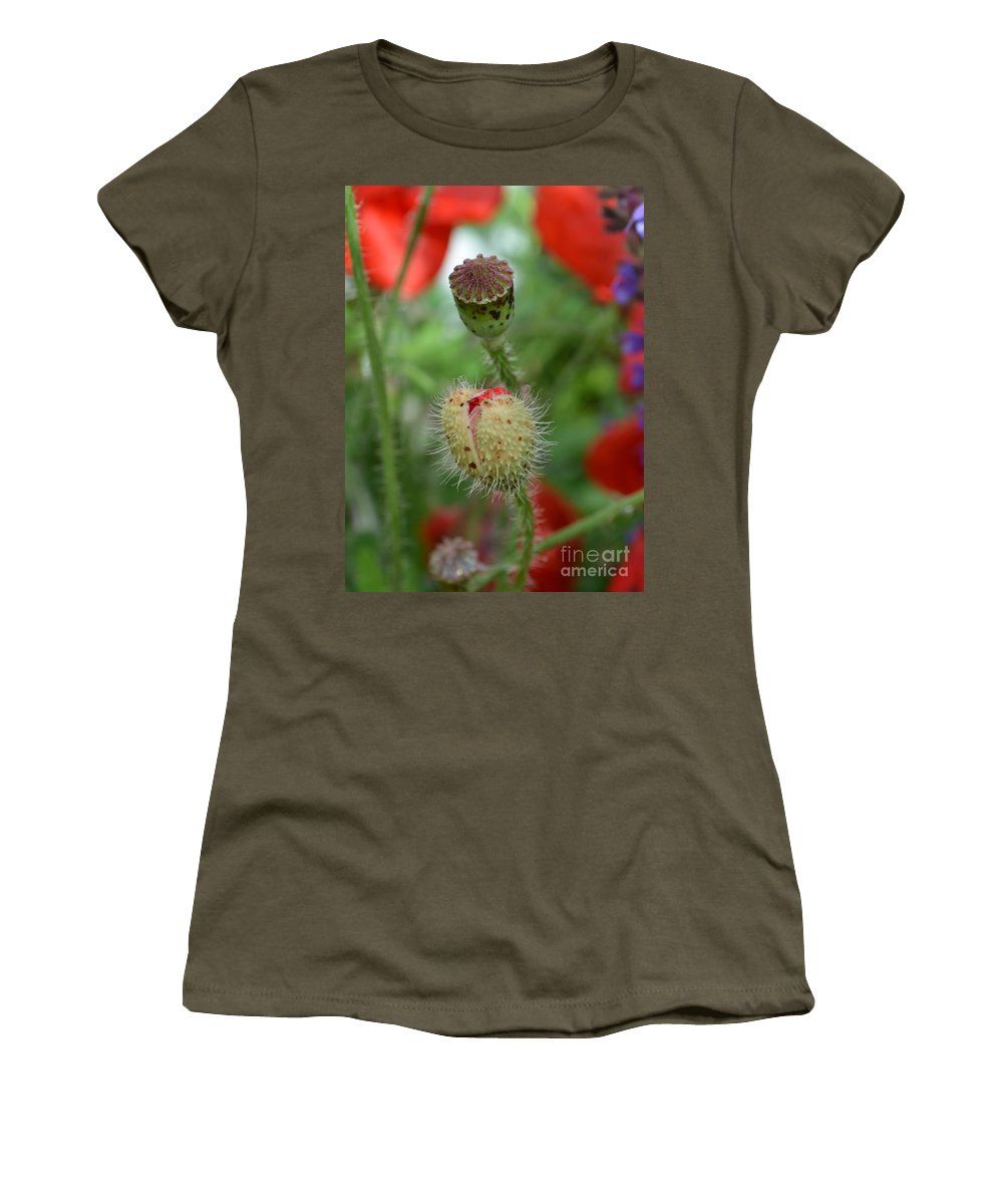 Poppy Women's T-Shirt (Athletic Fit) featuring the photograph Bursting Forth by Mary Deal