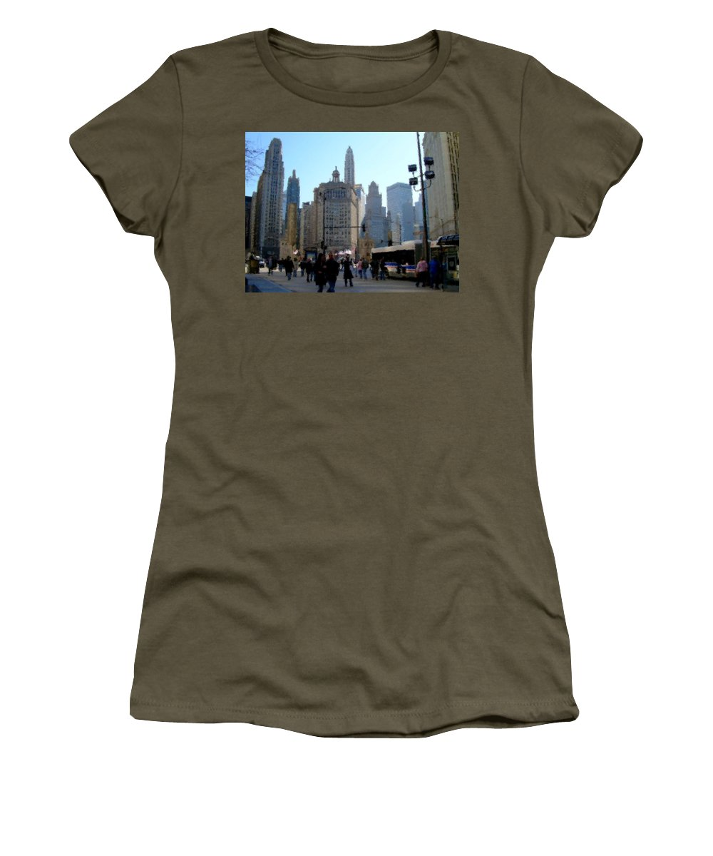 Archtecture Women's T-Shirt featuring the digital art Bus On Miracle Mile by Anita Burgermeister