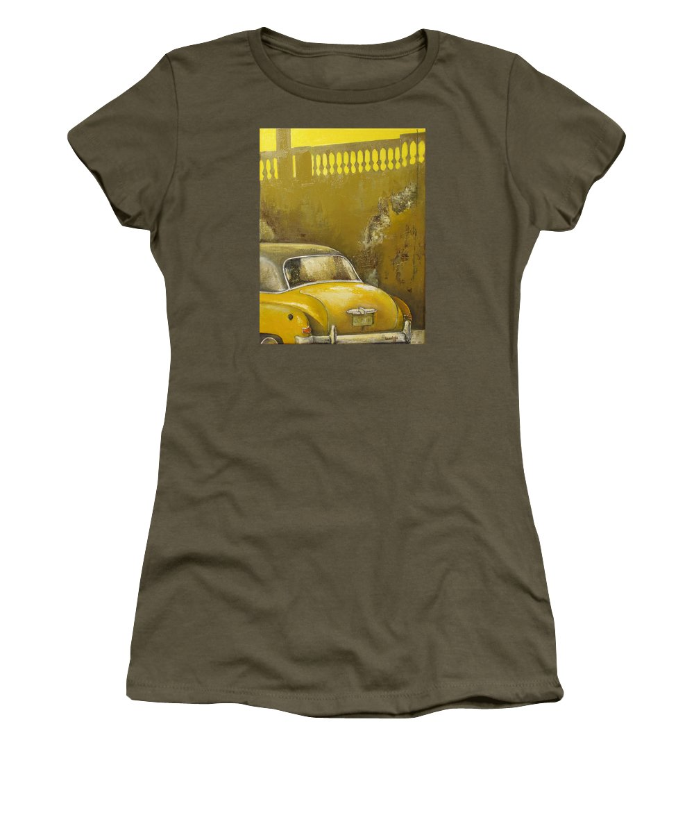 Havana Women's T-Shirt (Junior Cut) featuring the painting Buscando La Sombra by Tomas Castano
