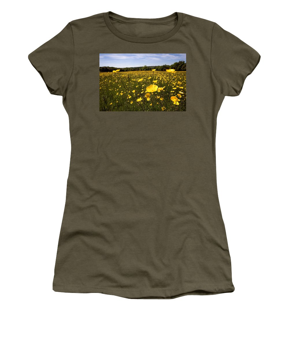 Buttercups Women's T-Shirt featuring the photograph Buttercup Field by Bob Kemp
