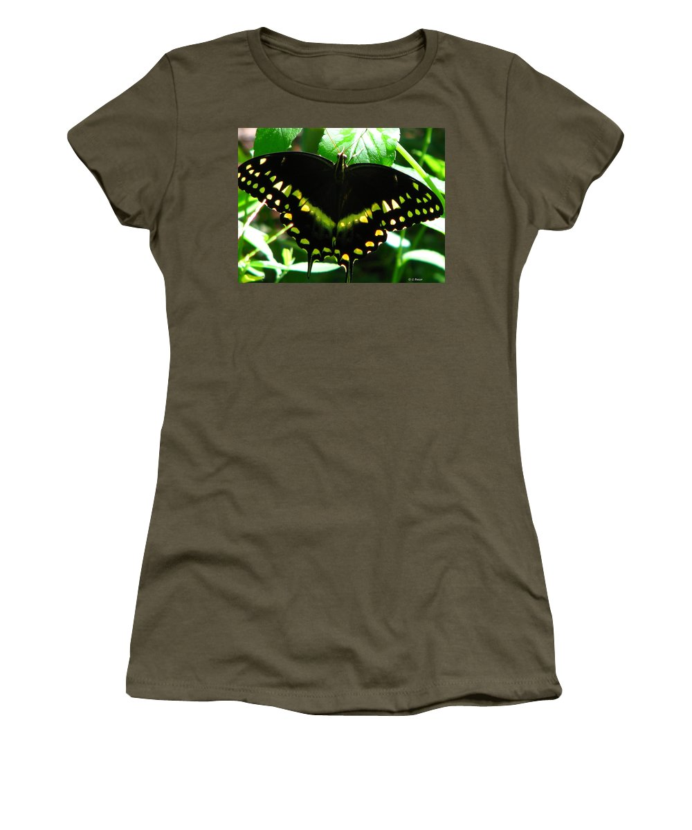 Patzer Women's T-Shirt (Athletic Fit) featuring the photograph Butterfly Art 3 by Greg Patzer