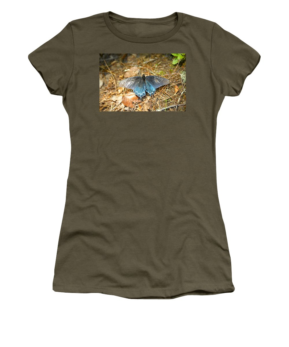 Butterfly Women's T-Shirt featuring the photograph Butterfly In The Forest by David Lee Thompson