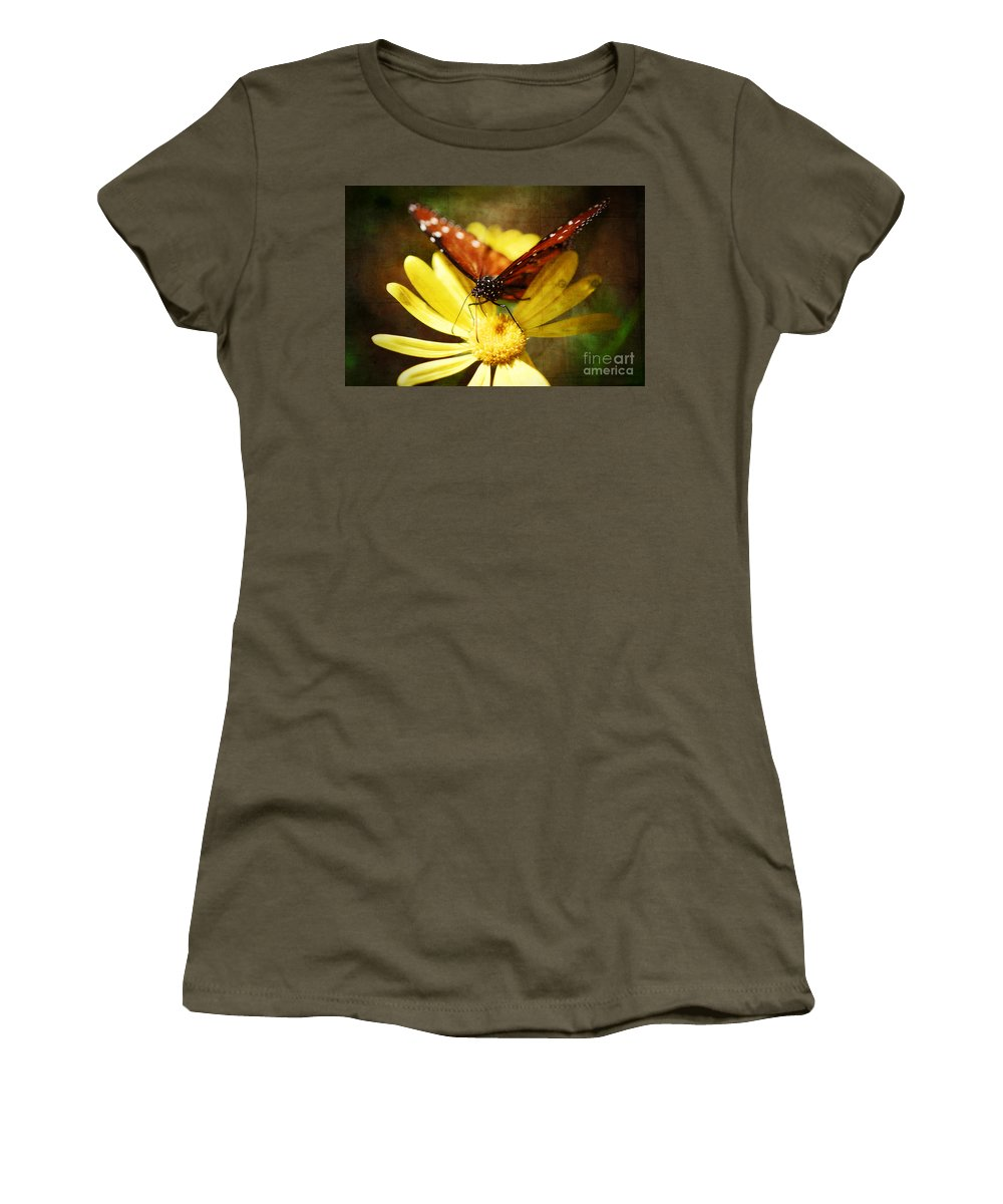 Butterfly Women's T-Shirt featuring the photograph Butterfly On A Daisy by Saija Lehtonen