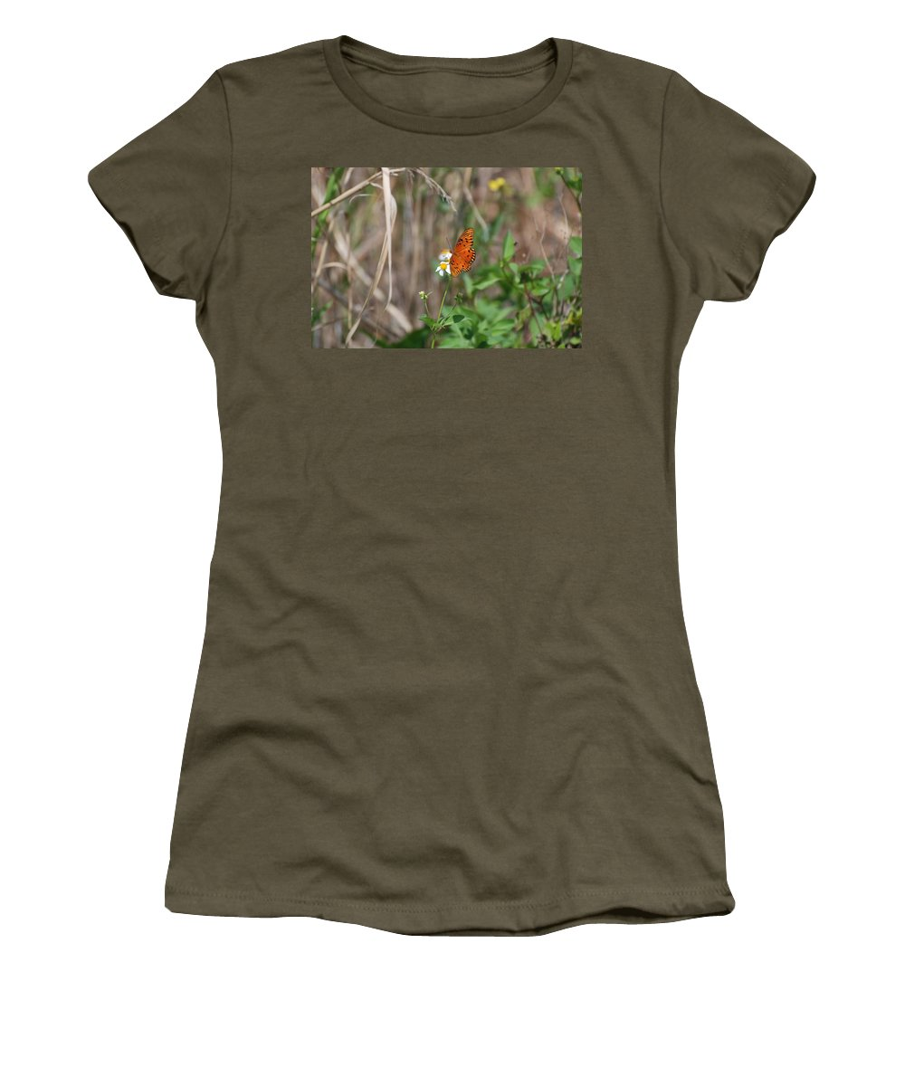 Nature Women's T-Shirt (Athletic Fit) featuring the photograph Butterfly On Flower by Rob Hans