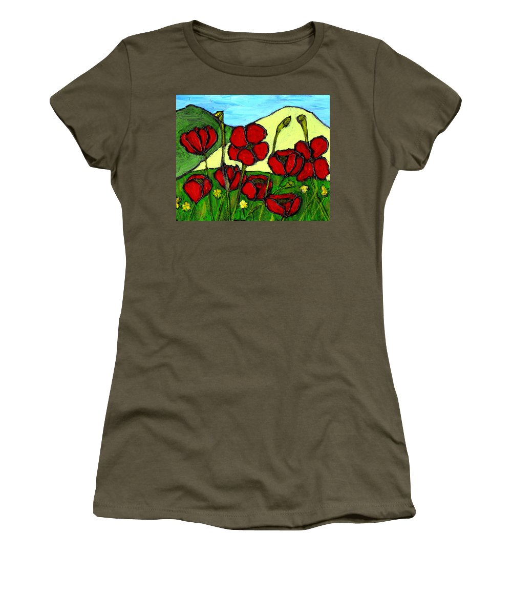Flowers Women's T-Shirt featuring the photograph By The Side Of The Road by Wayne Potrafka