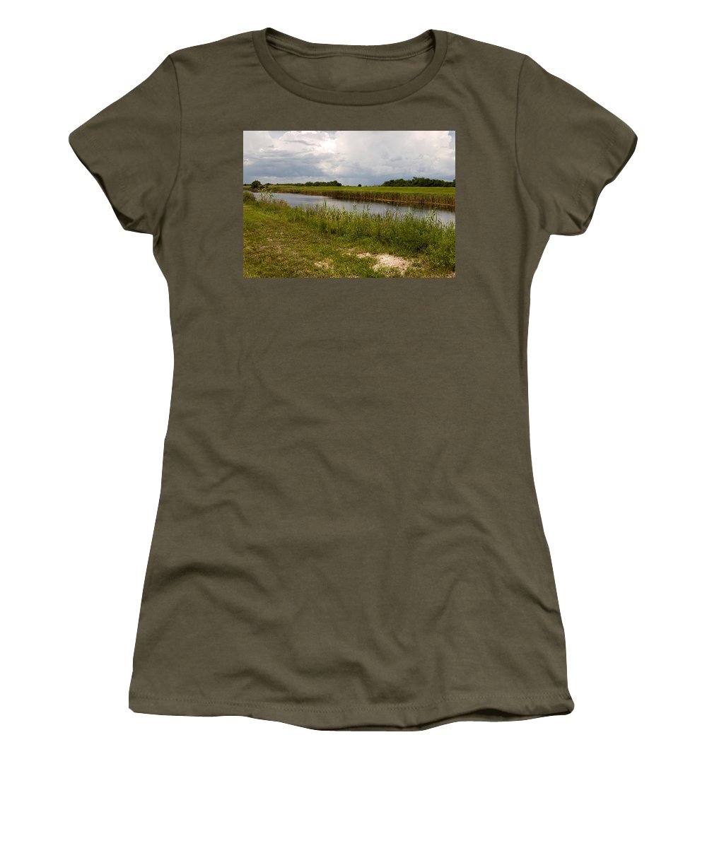 Florida; C54; Canal; Fellsmere; Sebastian; Grade; Drain; Draining; Water; Flow; Flowing; Indian; Riv Women's T-Shirt featuring the photograph C54 Canal In Florida by Allan Hughes