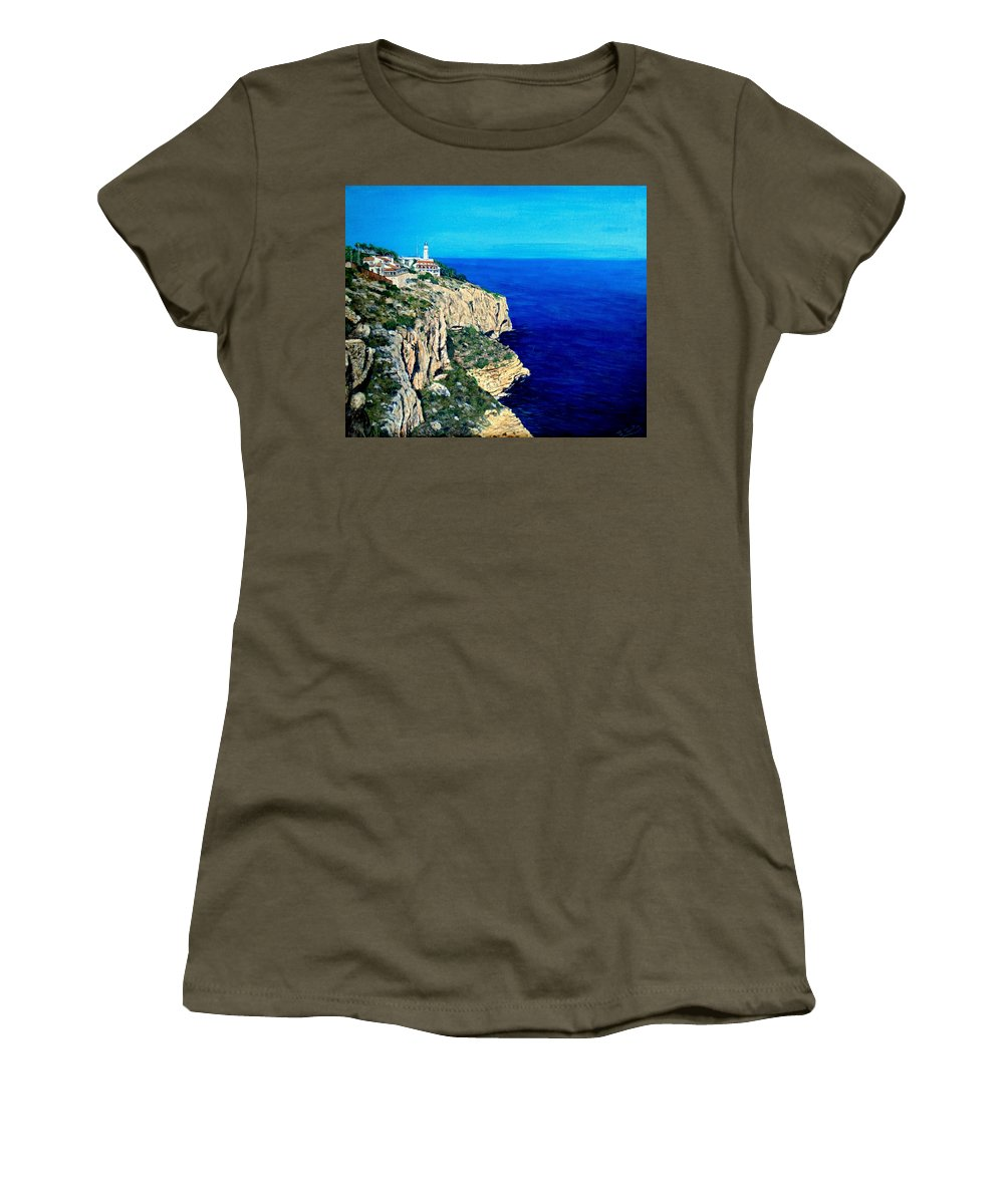 Blue Women's T-Shirt (Athletic Fit) featuring the painting Cabo La Nao Lighthouse Javea Spain by Mackenzie Moulton