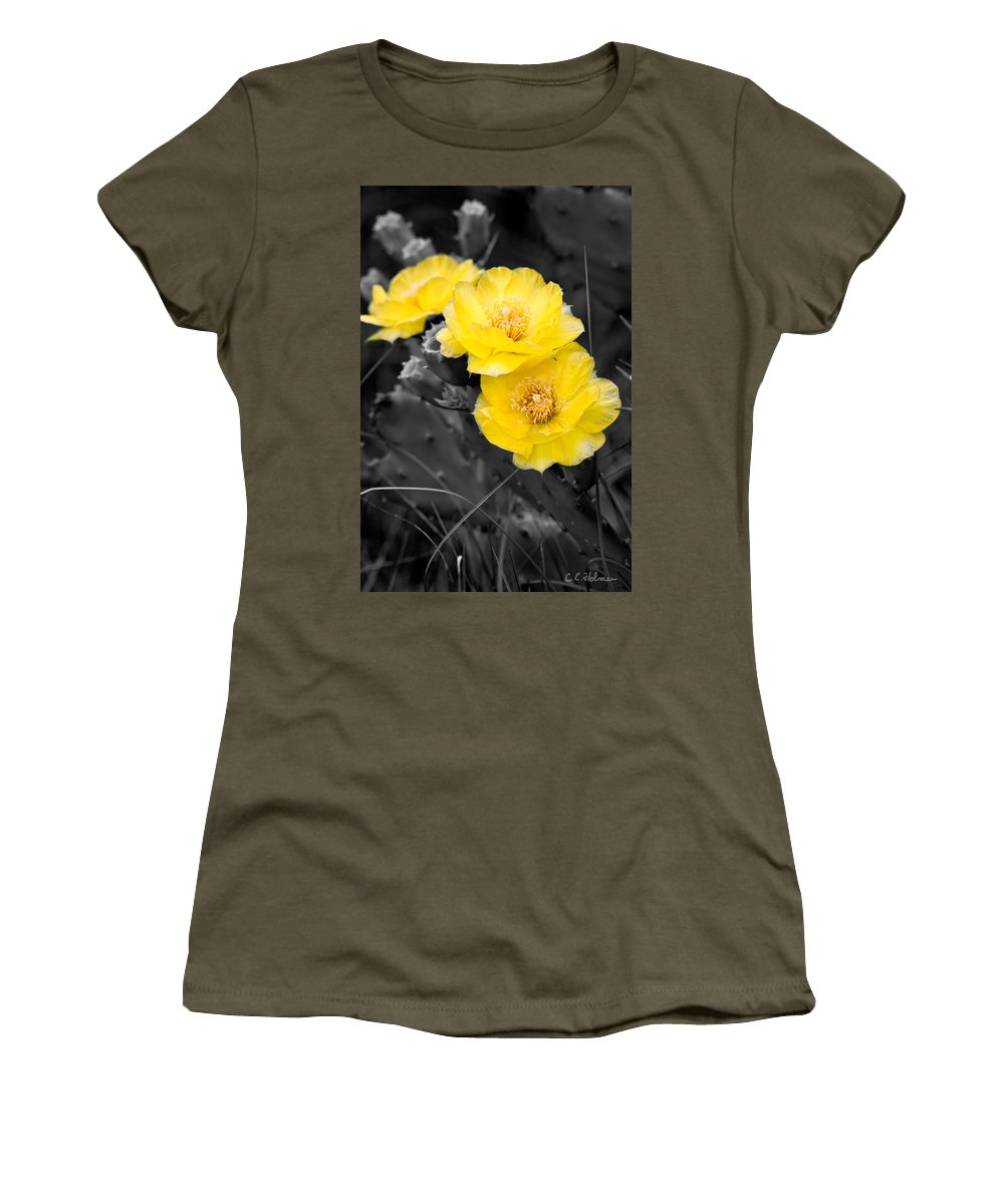 Cactus Women's T-Shirt featuring the photograph Cactus Blossom by Christopher Holmes