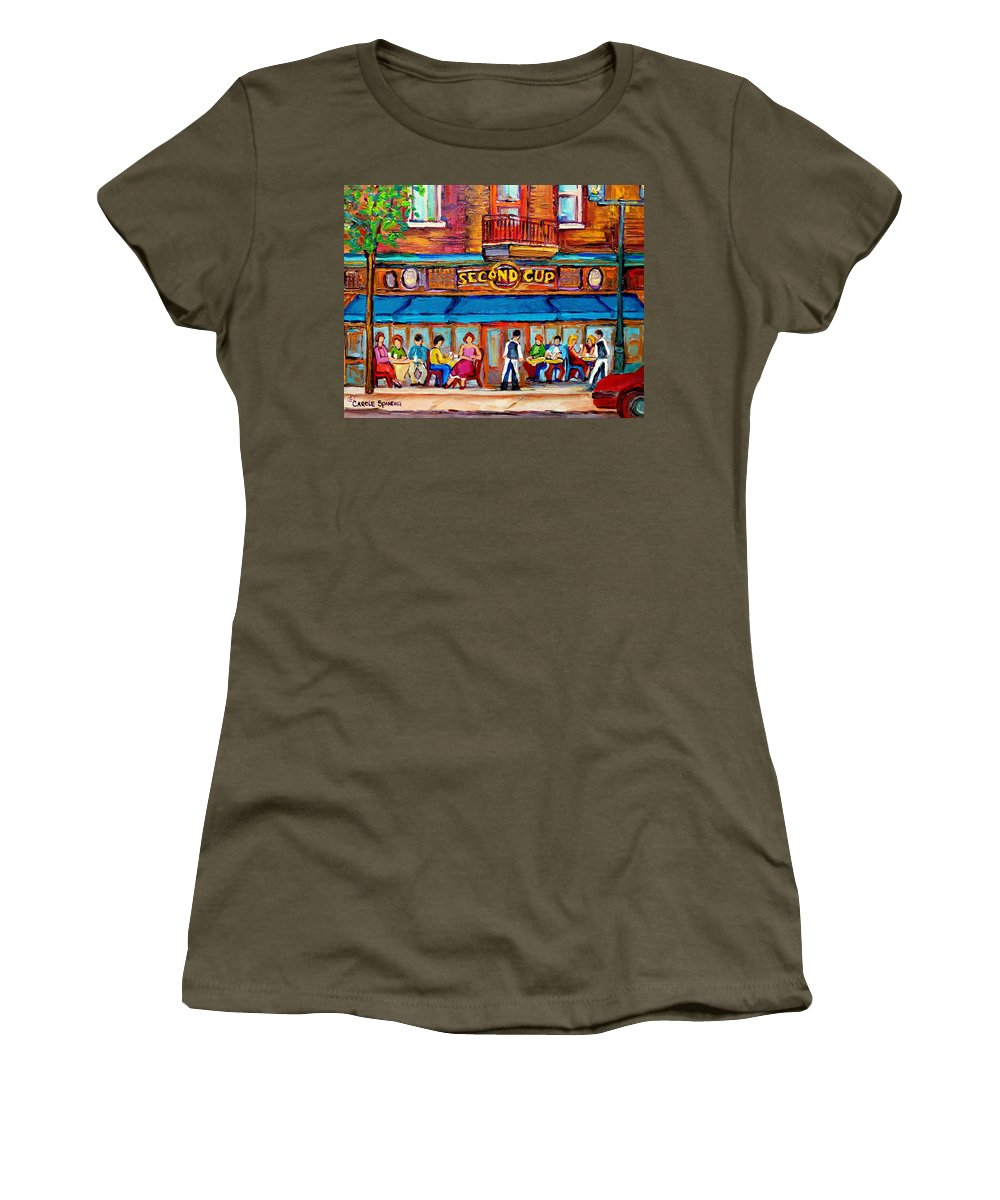 Cafe Second Cup Terrace Montreal Street Scenes Women's T-Shirt featuring the painting Cafe Second Cup Terrace by Carole Spandau