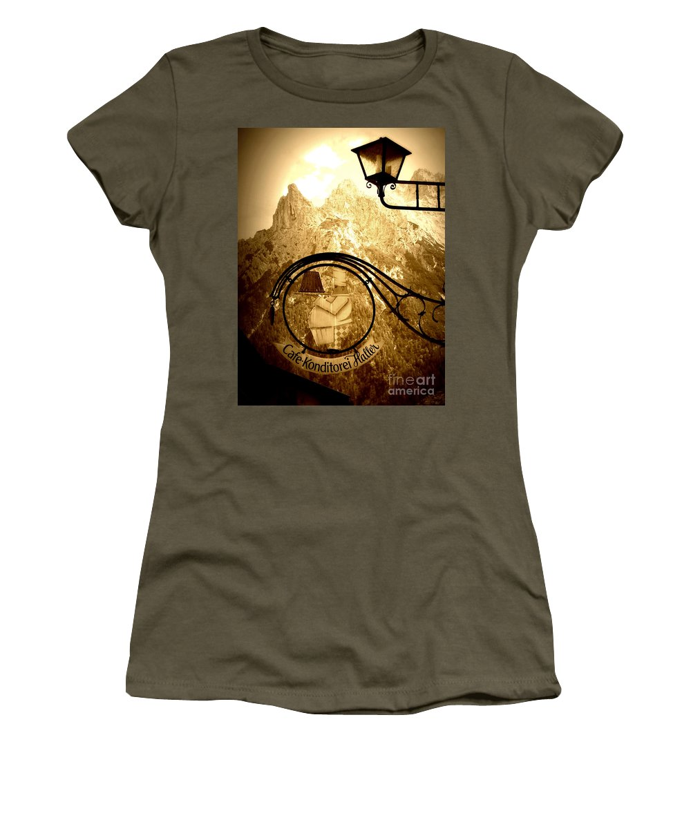 Cafe Sign Women's T-Shirt featuring the photograph Cafe Sign In Bavarian Alps by Carol Groenen