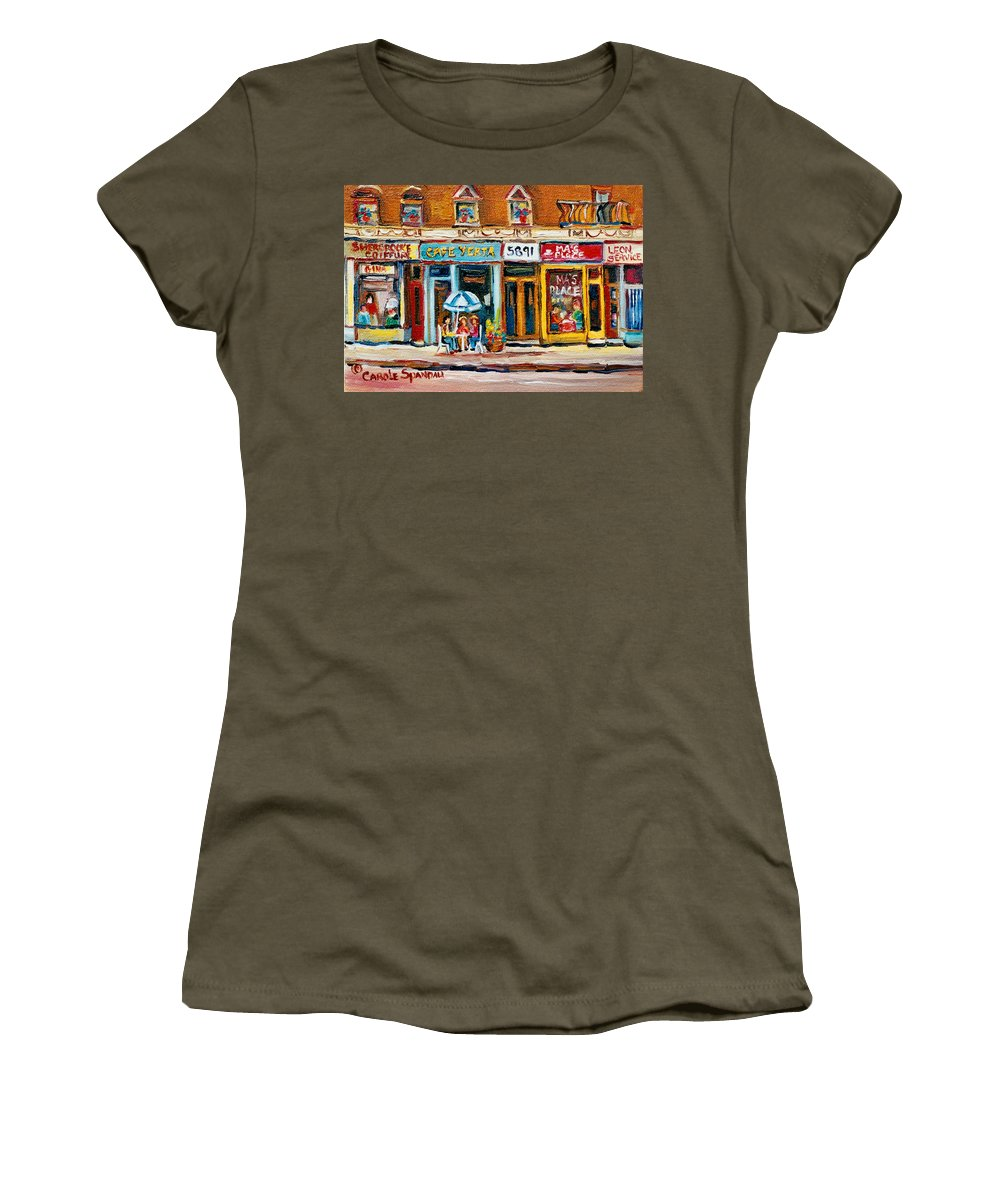 Cafes Women's T-Shirt (Athletic Fit) featuring the painting Cafe Yenta And Ma's Place by Carole Spandau