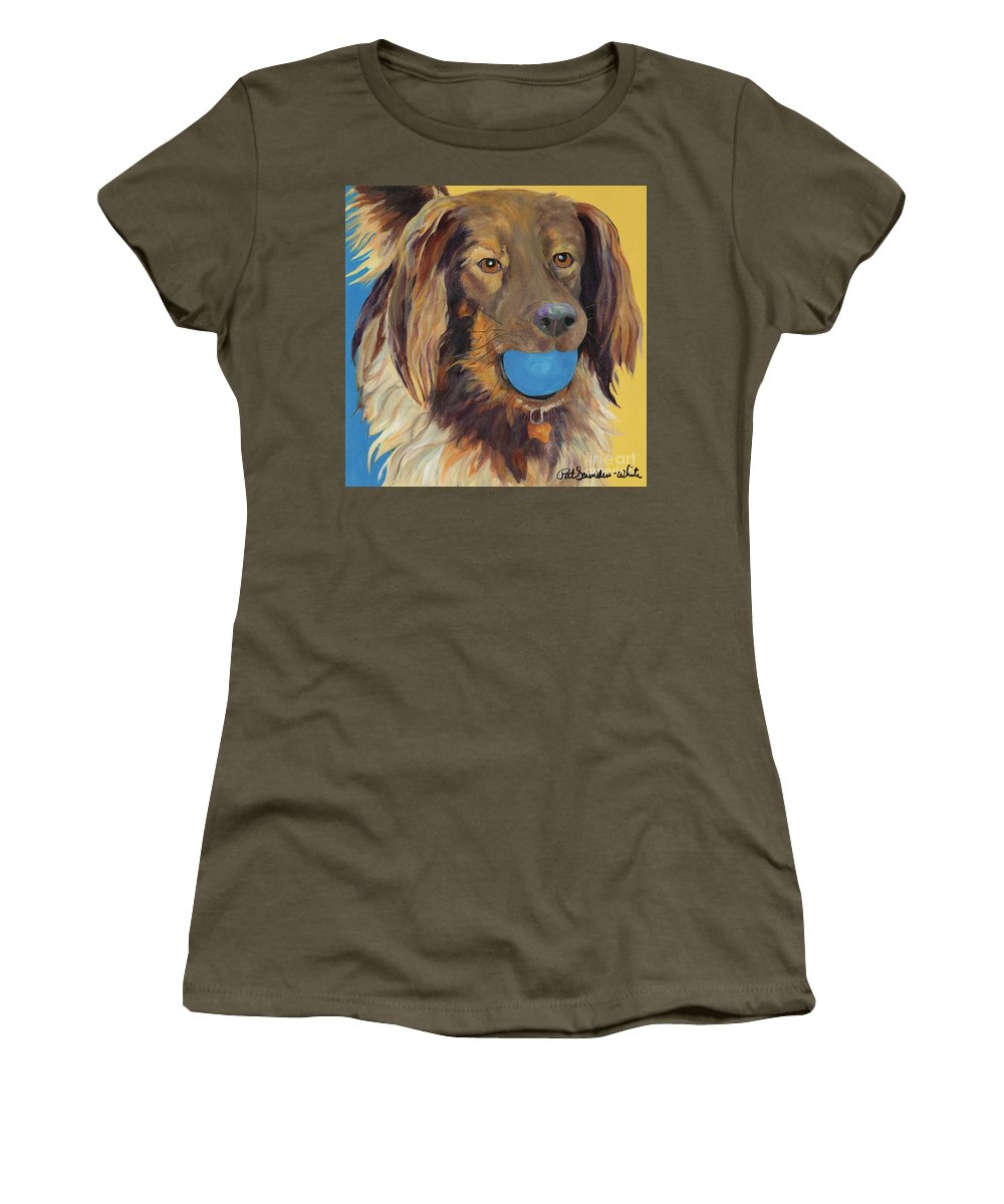 Dog Art Women's T-Shirt featuring the painting Caleigh by Pat Saunders-White