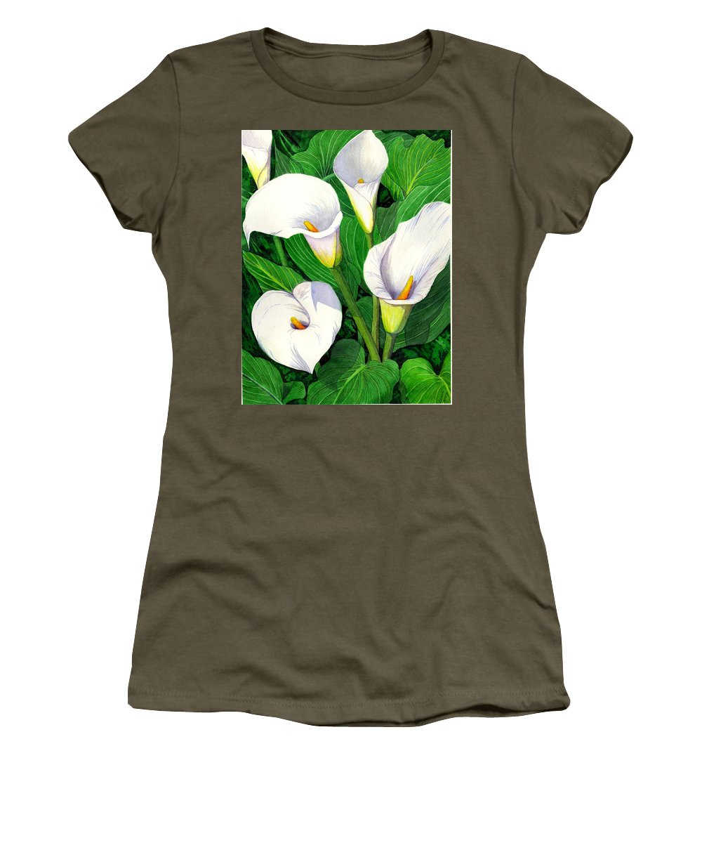 Lily Women's T-Shirt (Athletic Fit) featuring the painting Calla Lilies by Catherine G McElroy