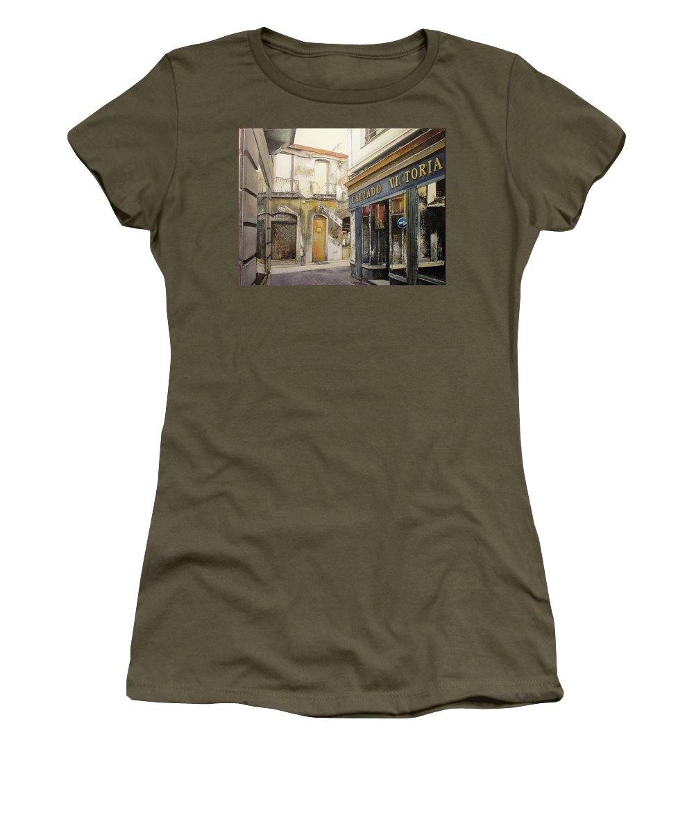 Calzados Women's T-Shirt (Junior Cut) featuring the painting Calzados Victoria-leon by Tomas Castano