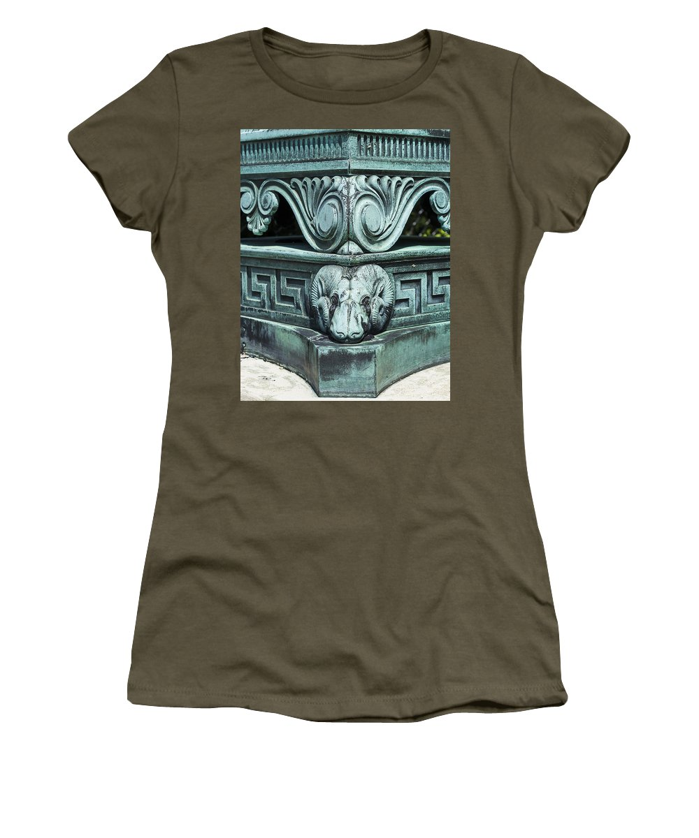 Camp Randall Women's T-Shirt featuring the photograph Camp Randall Lamp Base - Madison - Wisconsin by Steven Ralser