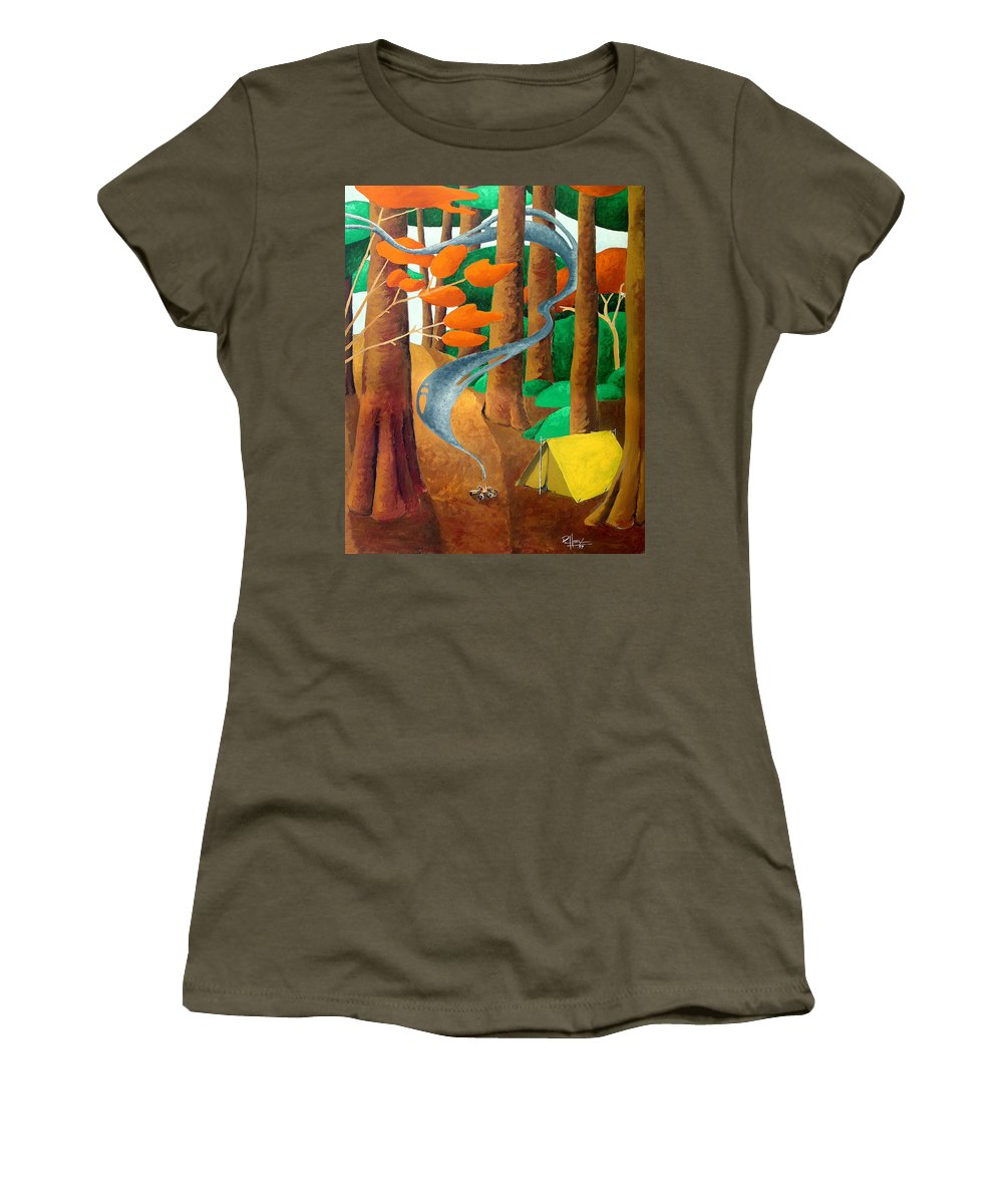 Landscape Women's T-Shirt (Athletic Fit) featuring the painting Camping - Through The Forest Series by Richard Hoedl
