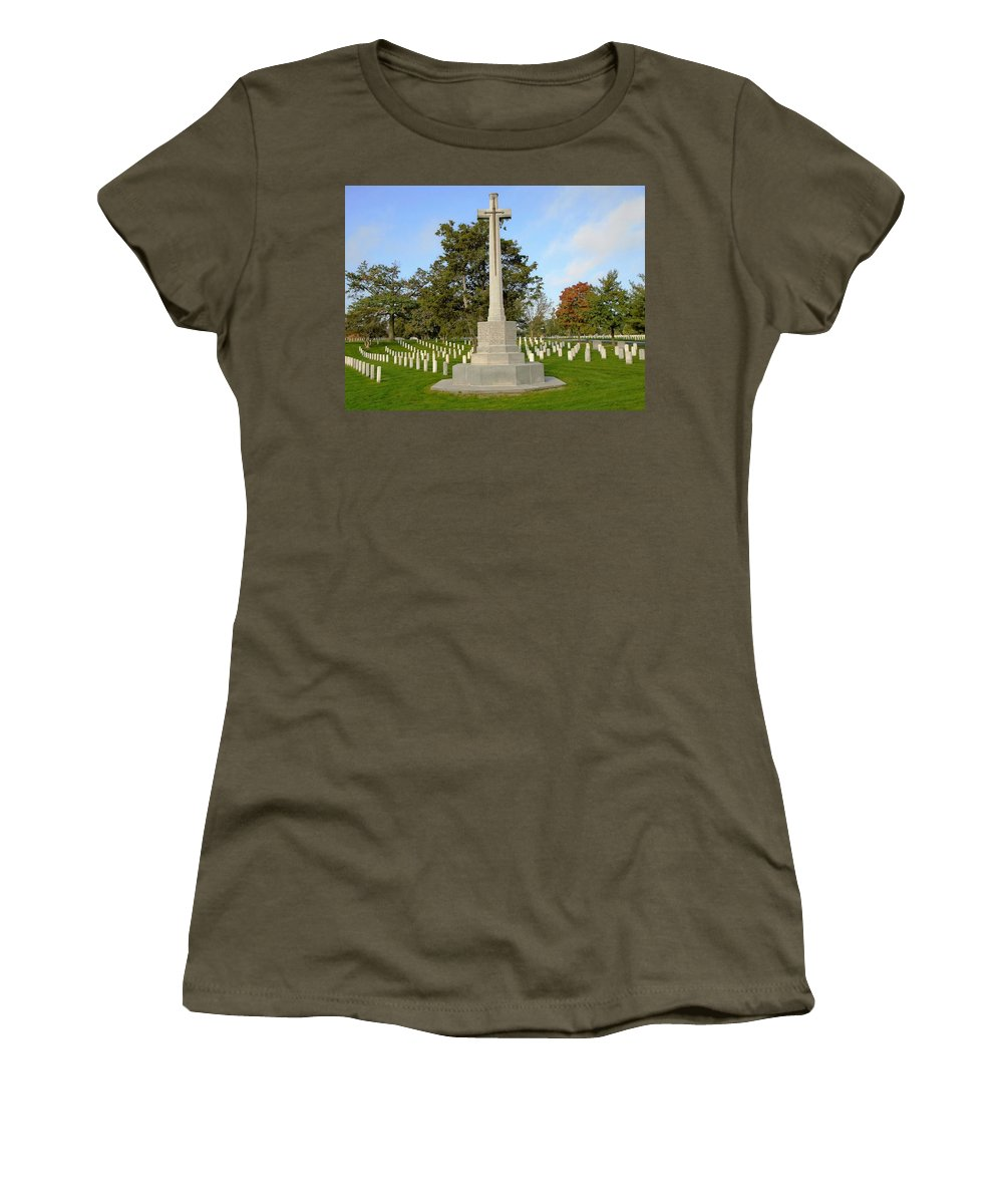 Canadian Cross Of Sacrifice Women's T-Shirt featuring the photograph Canadian Cross Of Sacrifice by Anthony Schafer
